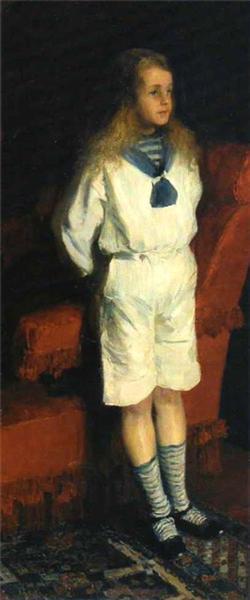 Portrait of a boy in a white suit, c.1905 - Filipp Malyavin