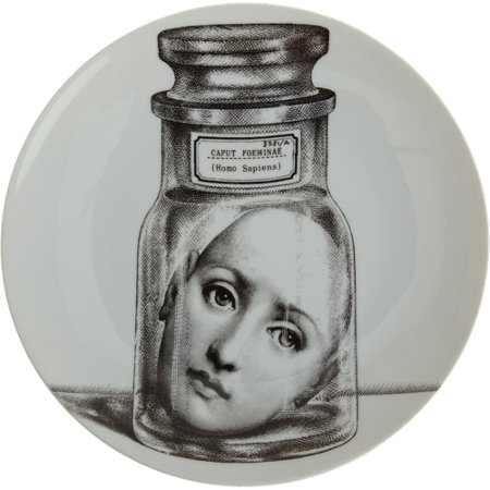Theme & Variations Decorative Plate #166 (Woman's Face in Jar) - Piero Fornasetti