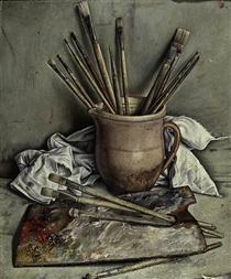 Palette et pinceaux - François Barraud