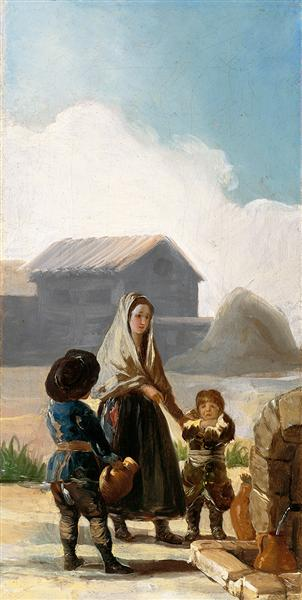 A woman and two children by a fountain, 1786 - Francisco Goya