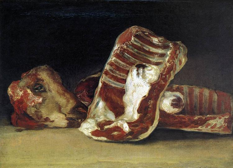 Still life of Sheep's Ribs and Head - The Butcher's conter, 1810 - 1812 - Франсиско де Гойя