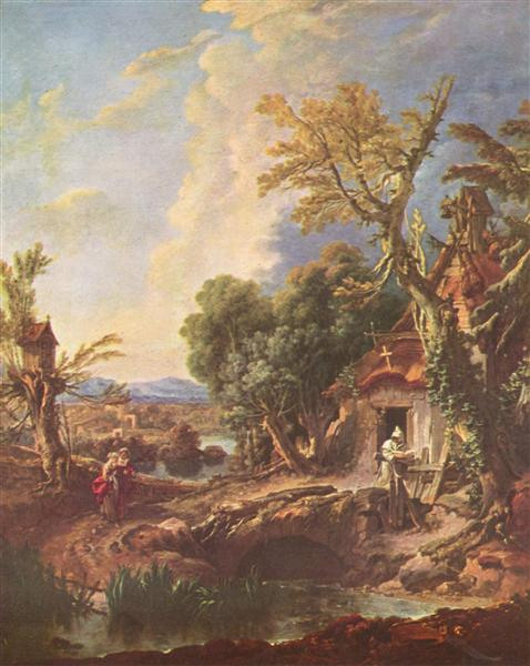 Landscape with the brother Lucas, c.1750 - Francois Boucher