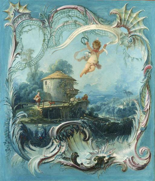The Enchanted Home A Pastoral Landscape Surmounted by Cupid - Francois Boucher