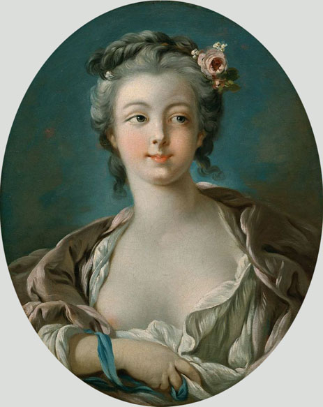 Young Woman with Flowers in Her Hair  wrongly called Portrait of Madame Boucher, c.1734 - Francois Boucher