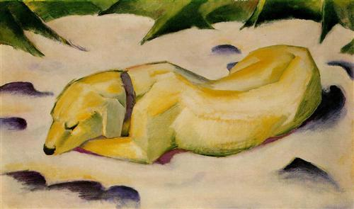 Dog Lying in the Snow - Franz Marc