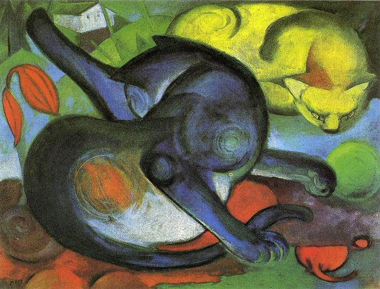 Two Cats, Blue and Yellow - Franz Marc