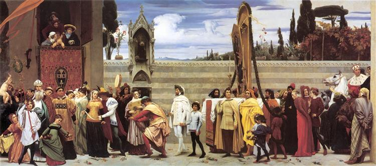 Cimabue's Celebrated Madonna is carried in Procession through the Streets of Florence, c.1854 - Frederic Leighton