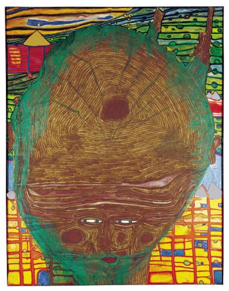 498 The Beard Is the Grass of the Bald-Headed Man, 1961 - Friedensreich Hundertwasser