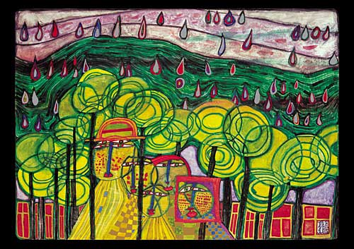 692 The Rain Falls Far From Us Falls the Rain - Friedensreich Hundertwasser