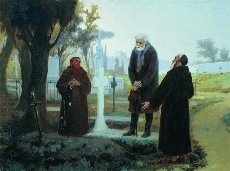 Exile in front of the grave, 1870 - Fyodor Bronnikov