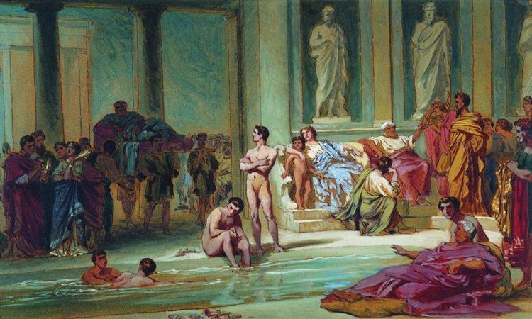 In the Roman Baths, 1865 - Fyodor Bronnikov