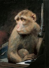 Monkey playing pianoforte - Gabriel von Max