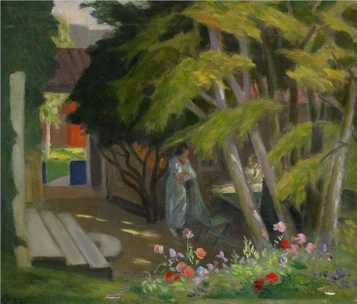 Garden with a woman - Georg Pauli