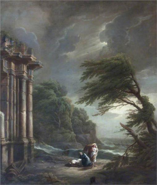Stormy Seashore with Ruined Temple, Shipwreck, and Figures - George Lambert