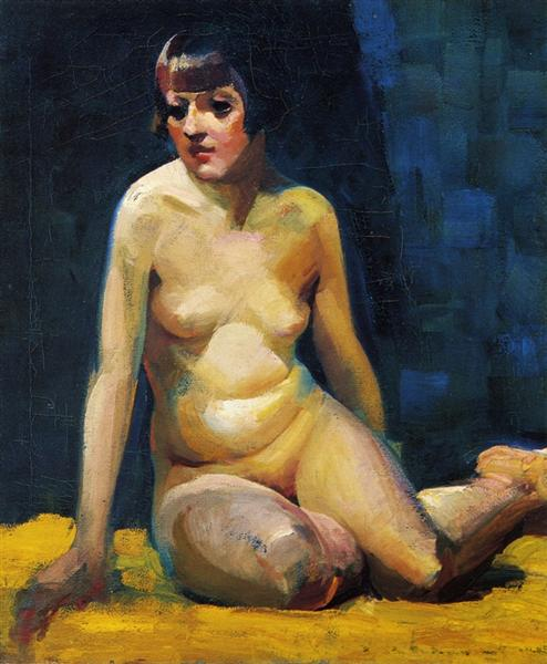 Seated Nude with Bobbed Hair - George Luks