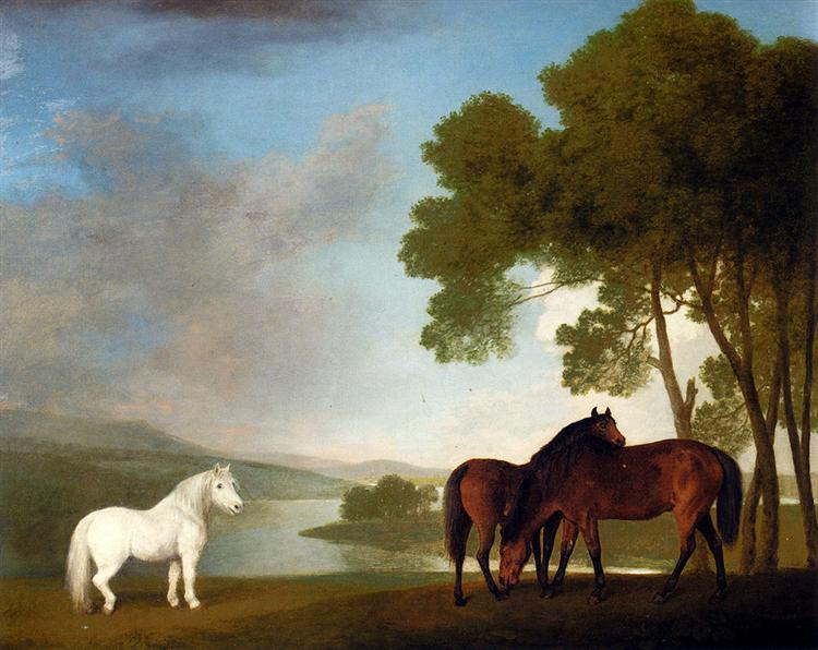 Two Bay Mares And a Grey Pony In a Landscape, 1793 - George Stubbs