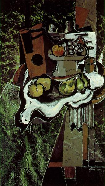 Fruit on a Tablecloth with a Fruitdish, 1925 - Georges Braque
