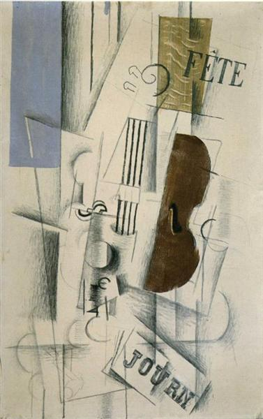 Violin and Newspaper (Musical Forms), c.1912 - Georges Braque