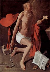 Repenting of St. Jerome, also called St. Jerome with Cardinal Hat - Georges de la Tour