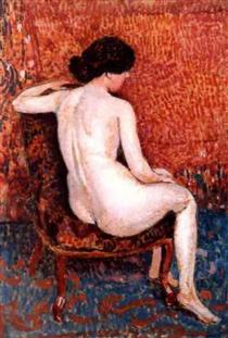 Sitting Nude on Chair - Жорж Леммен
