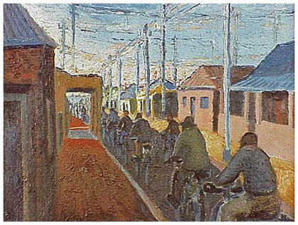 Cyclists in Sophiatown, 1942 - Gerard Sekoto