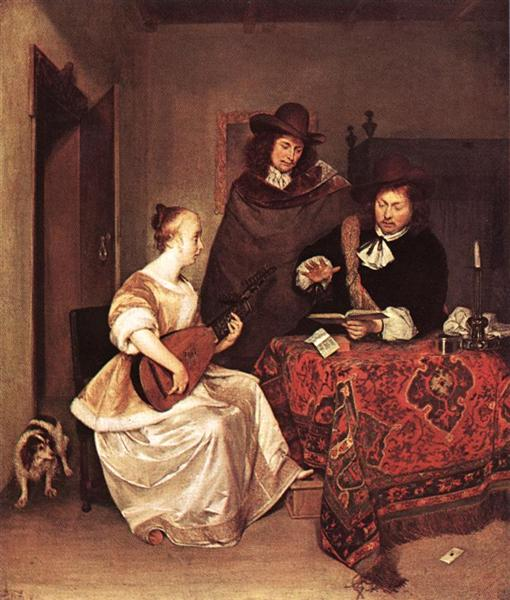 A Young Woman Playing a Theorbo to Two Men, c.1668 - Gerard ter Borch