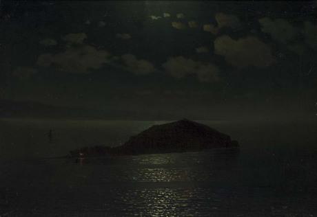 Lake Sevan and the Isle at night, 1884 - Gevorg Bashindzhagian