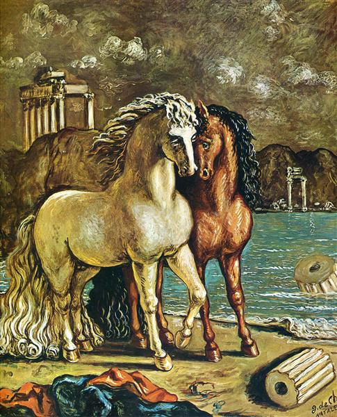 Antique Horses on the Aegean Shore, 1963 - Giorgio de Chirico