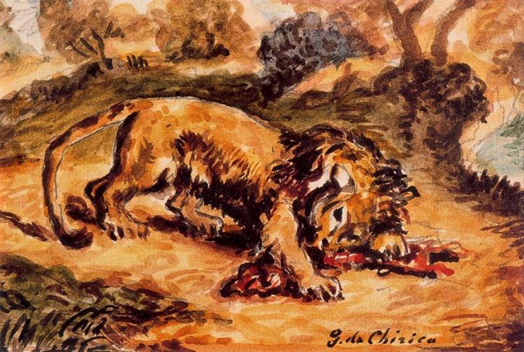 Lion devouring a piece of meat - Giorgio de Chirico