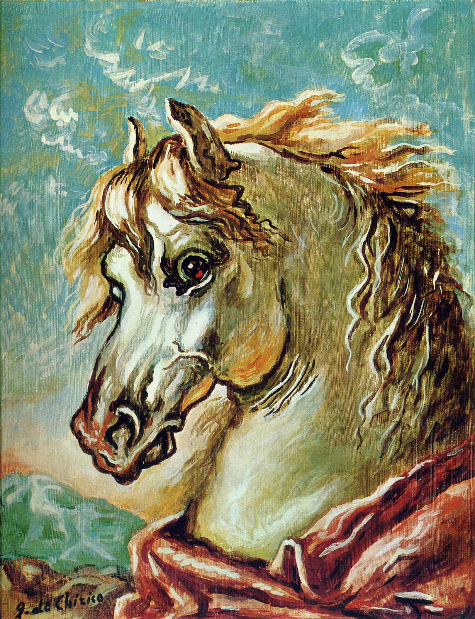 White horse's head with mane in the wind