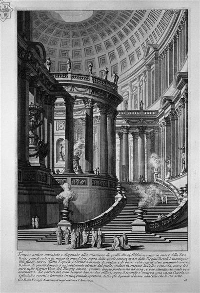 Ancient temple invented and designed in the manner of those that were manufactured in honor of the goddess Vesta (recorded in 1743), 1743 - Giovanni Battista Piranesi