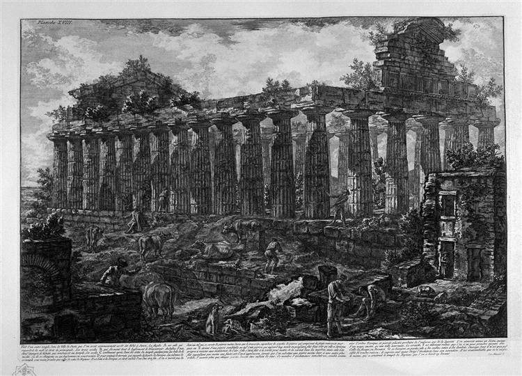 Another View of the Temple in the city of Paestum, believed dedicated to Juno, 1778 - Giovanni Battista Piranesi
