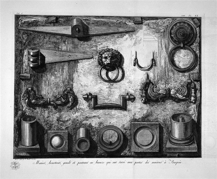 Handles, knockers, hinges found in Pompeii - Giovanni Battista Piranesi