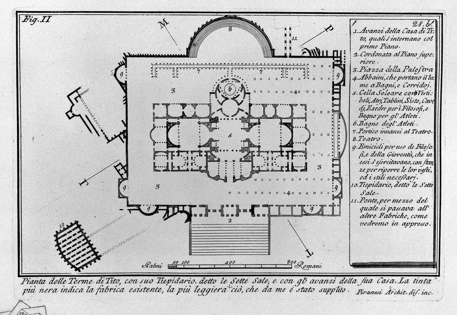 """The Roman antiquities, t. 1, Plate XXVII. """"Baths of Titus"""" (really the Baths of Traianus)., 1756"""