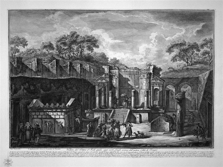 View of the Temple of Isis, which today exists among the remains of the ancient city of Pompeii, design of L Despres - Giovanni Battista Piranesi