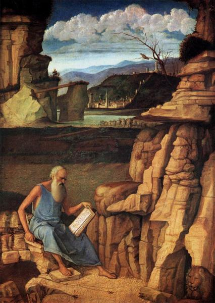 St Jerome Reading in the Countryside, 1480 - 1485 - Giovanni Bellini
