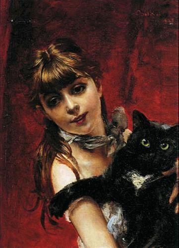 Girl with Black Cat  - Giovanni Boldini