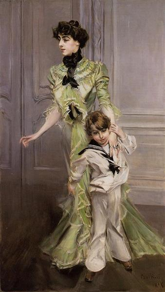 Madame Georges Hugo and her son Jean, 1898 - Giovanni Boldini