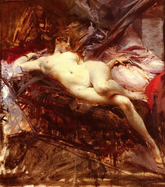 Reclining Nude - Giovanni Boldini