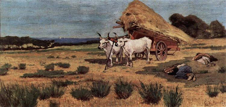 Pause in the Maremma with farmers and ox-cart, 1875 - Джованні Фатторі