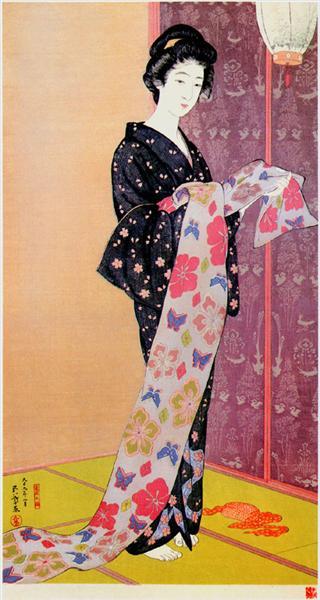 Young Woman in Summer Kimono, 1920 - Hashiguchi Goyō