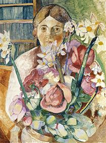 Figure through flowers - Grace Cossington Smith