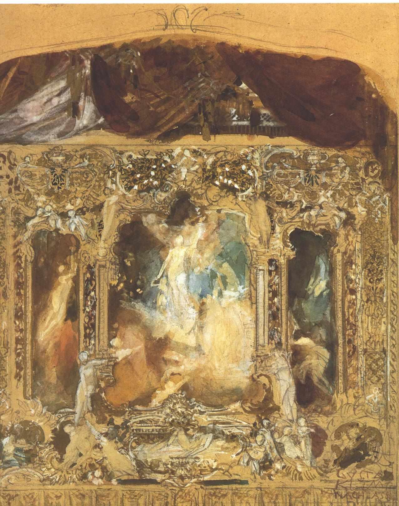 Design for a theater curtain 1883 gustav klimt for Riproduzioni design