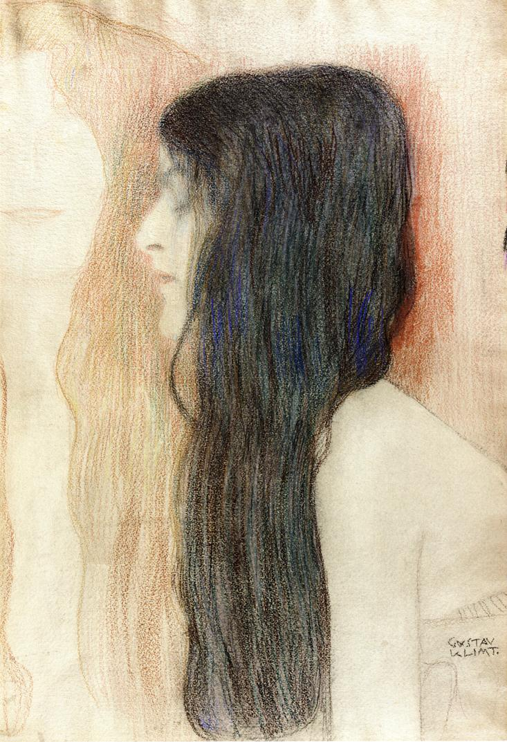 Girl with Long Hair, with a sketch for 'Nude Veritas', 1898-1899