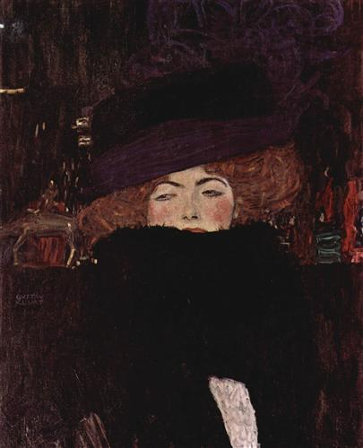 Lady with Hat and Featherboa - Gustav Klimt