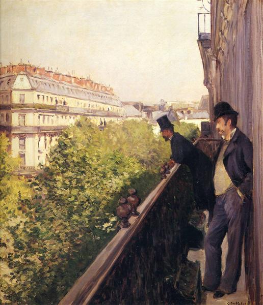 A Balcony, Boulevard Haussmann, 1880 - Gustave Caillebotte