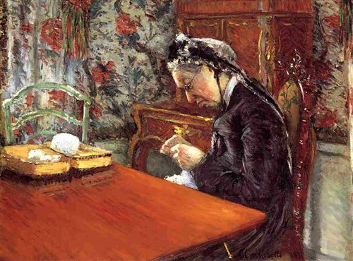 Portrait of Mademoiselle Boissiere Knitting - Gustave Caillebotte
