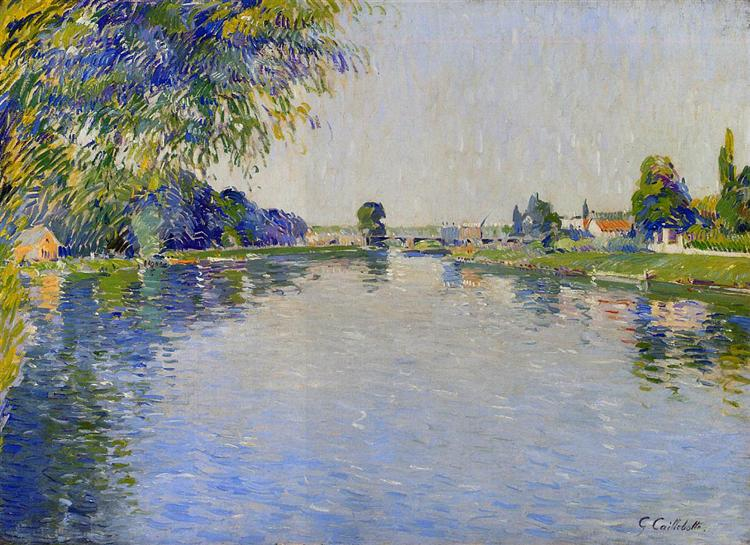 View of the Seine in the Direction of the Pont de Bezons, c.1892 - Gustave Caillebotte