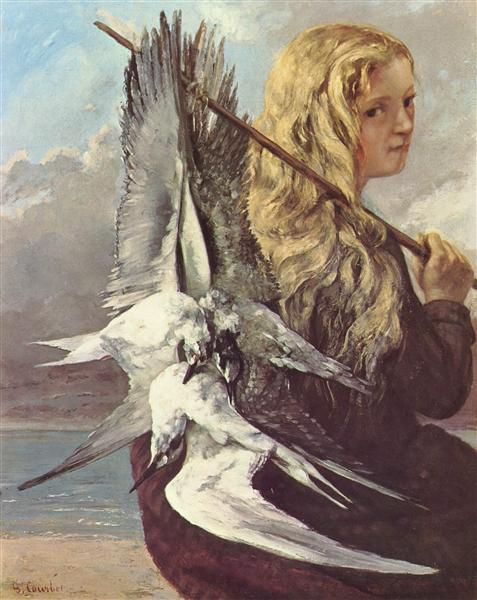 Girl with Seagulls,Trouville, 1865 - Gustave Courbet