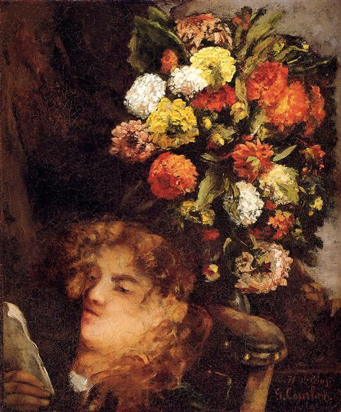 Head of a Woman with Flowers, 1871 - Gustave Courbet